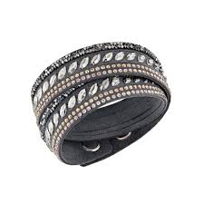 leather bracelet swarovski images Swarovski slake grey pink crystal leather wrap bracelet 5217154 jpg