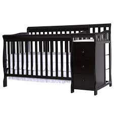 Black Convertible Crib On Me Brody 5 In 1 Convertible Crib With Changer In Black