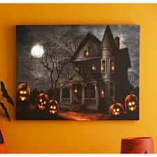 lighted canvas art with timer haunted mansion led canvas art print sale 29 99 trick or treat