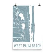 Map Of Palm Beach Florida by West Palm Beach Florida Map Art Print Poster Wall Art From