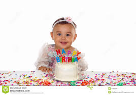 baby birthday baby girl and birthday cake stock image image of background