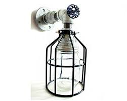 Lighting Wall Sconces Industrial Wall Sconce Galvanized Pipe Lighting W Mason Jar For