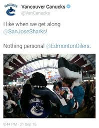 Edmonton Memes - vancouver canucks and san jose sharks are actually getting along