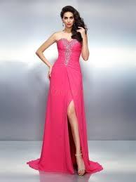 a linie herzausschnitt sweep pinsel zug chiffon brautjungfernkleid mit ruschen blumen p539 abendkleider rosa günstige rosa kleider für anlässe