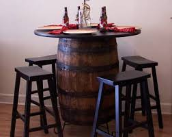whiskey barrel bar table whiskey barrel table etsy
