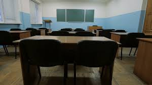 Black Wooden Chair Png Empty Classroom At Blackboard Wooden Desks Black Chairs