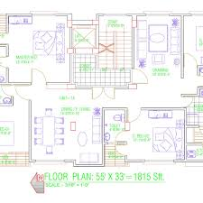 floor plan 55 u0027x33 u0027 for single family cad files dwg files plans