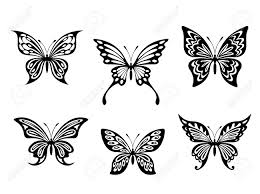 black butterfly tattoos and silhouettes isolated on white
