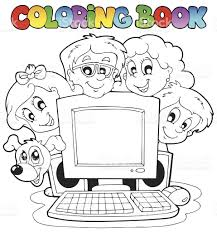 coloring book computer and kids stock vector art 451019681 istock