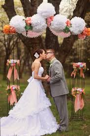 wedding arch no flowers sweet sherbet inspiration tissue poms arch and wedding