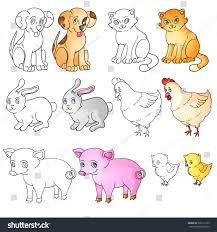 vector illustration set farm animals line stock vector 396172705