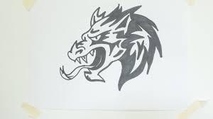 how to draw a dragon head tribal tattoo 10 youtube