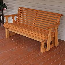 amazon com 5 u0027 natural cedar porch glider amish crafted patio