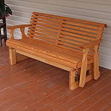 Heavy Duty Garden Bench Amazon Com 5 U0027 Natural Cedar Porch Glider Amish Crafted Patio
