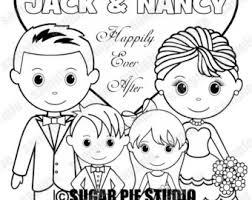 wedding coloring pages sugarpiestudio etsy