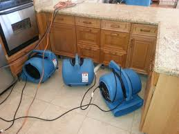 water damage restoration after a flood caused by a broken ice