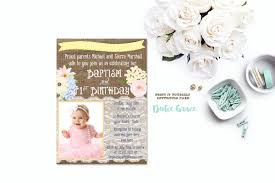 Baptismal Invitation Card Design 1st Birthday And Baptism Invitation Diy Printable Baptism