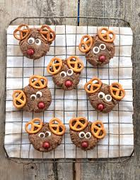 chocolate peanut butter reindeer cookies fork and beans