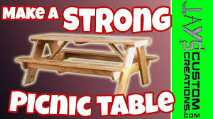 Wood Picnic Table Plans Free by How To Build A Picnic Table 084 Youtube