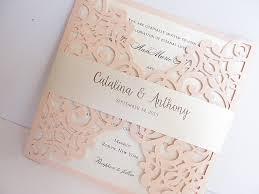lace wedding invitations blush pink laser cut wedding invitation