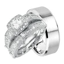 silver wedding rings his stainless steel and sterling silver wedding band rings