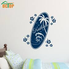 vinyl banner picture more detailed picture about dctop dark blue dctop dark blue customized name surfing board palm tree wall sticker with flower home decor mural