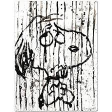 tom everhart signed snoopy dancing rain original litho charles