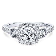 3 engagement ring 14k white gold cushion cut 3 stones halo engagement ring