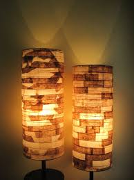 coffee filter art rustic table lamp paper lamp shade eco