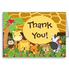Jungle Birthday Card Cute Jungle Safari Animals Thank You Card Safari Animals And Animal