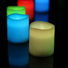 12 colour changing led small pillar candles battery operated 4cm