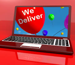 deliver ballons we deliver balloons on computer showing delivery shipping service