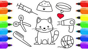 how to draw set for cat coloring pages kit for pet hairdryer