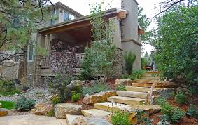 boulder garage door mile high landscaping traditional rustic slab stair accent boulder