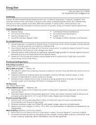 Resume Samples Insurance by Medical Billing Resume Examples Objective Samples Sample 791