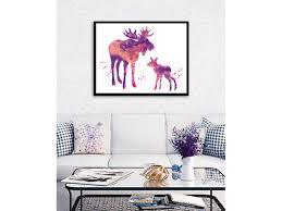and baby moose watercolor art print deer watercolor stag painting