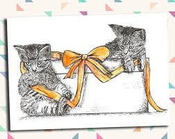 kitten birthday card etsy