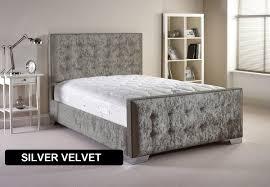 Velvet Bed Frame Furniture Delaware 4ft 6 Fabric Bedframe Velvet Fabric