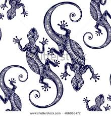 ornate gecko lizard seamless pattern geckos stock vector 466063472