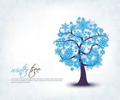 blue winter tree snowflakes background vector