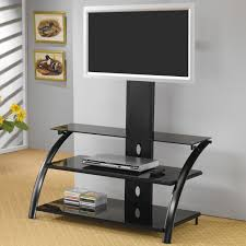 Computer Desk And Tv Stand Tv Stands Casual Contemporary Metal Media Console With Bracket