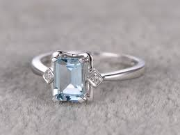 aquamarine engagement rings emerald cut aquamarine rings white gold diamond ring halo
