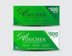 green gift voucher vector illustration green gift voucher template coupon design ticket discount stock