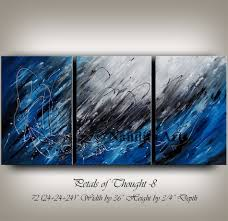 large wall art blue acrylic abstract painting wall decor grey