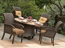 Rustic Patio Furniture by Dark Brown Wicker Chairs With Dark Brown Wooden Legs Connected By