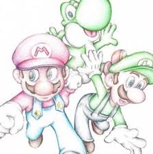 super mario brothers luigi yoshi nintendo cartoon art pencil