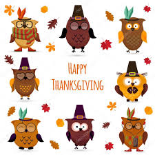 thanksgiving day owl set archivo imágenes vectoriales