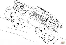 maximum destruction monster truck coloring page free printable