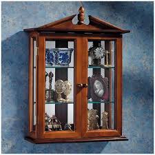 Curio Cabinet With Glass Doors Curios Wall Mount Curio Cabinet Glass Doors Shelves Mirrored Back