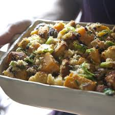 thanksgiving stuffing for two cornbread stuffing with brussels sprouts u0026 squash recipe eatingwell